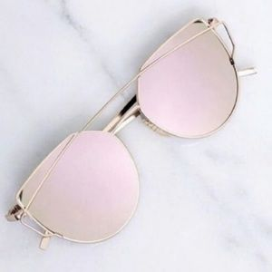 Cateye Mirrored Pink Oversized Sunglasses